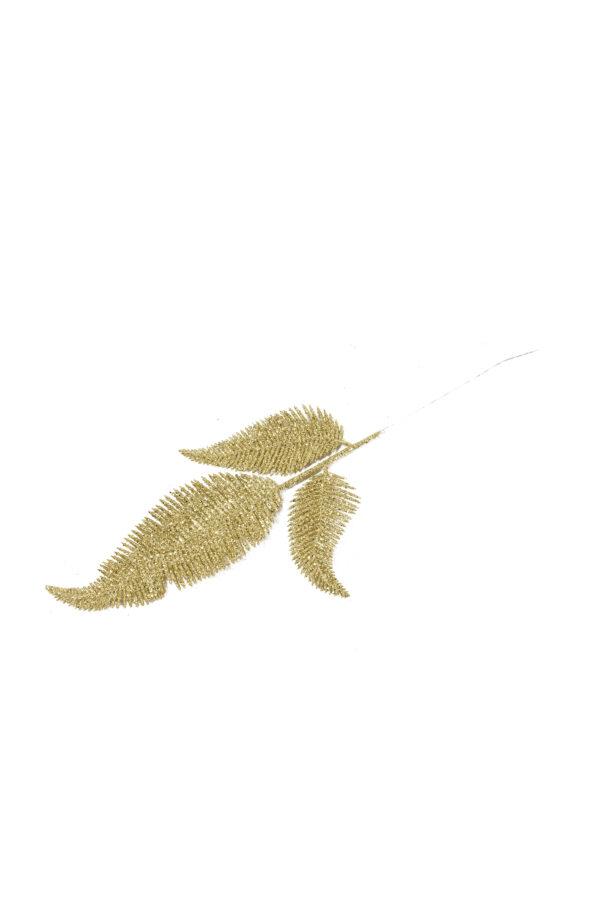 Set 2 Pick con 3 Foglie di Felce artificiali color oro con glitter 40 cm