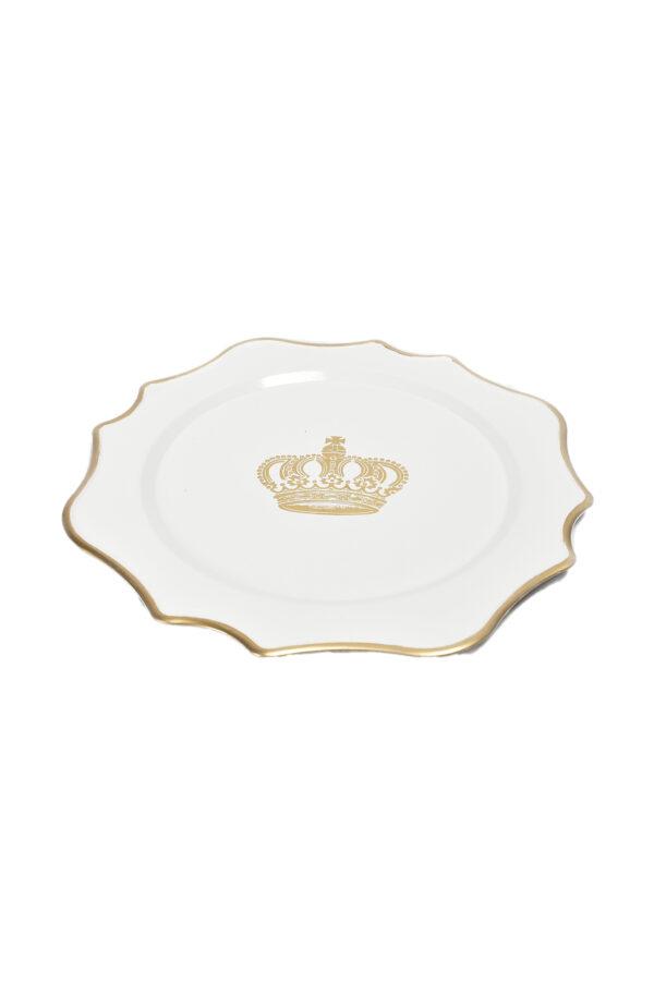 Piatto - Sottopiatto - Vassoio bianco con corona oro in plastica d. 33 cm