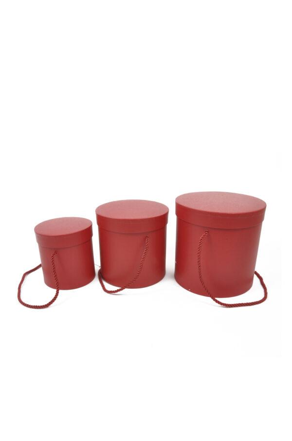 Set 3 Scatole regalo – Flower Box Tonde in cartoncino rigido con manici in corda colore rosso Gr. 18x18; Med. 16x16; Pic.: 14x14 cm