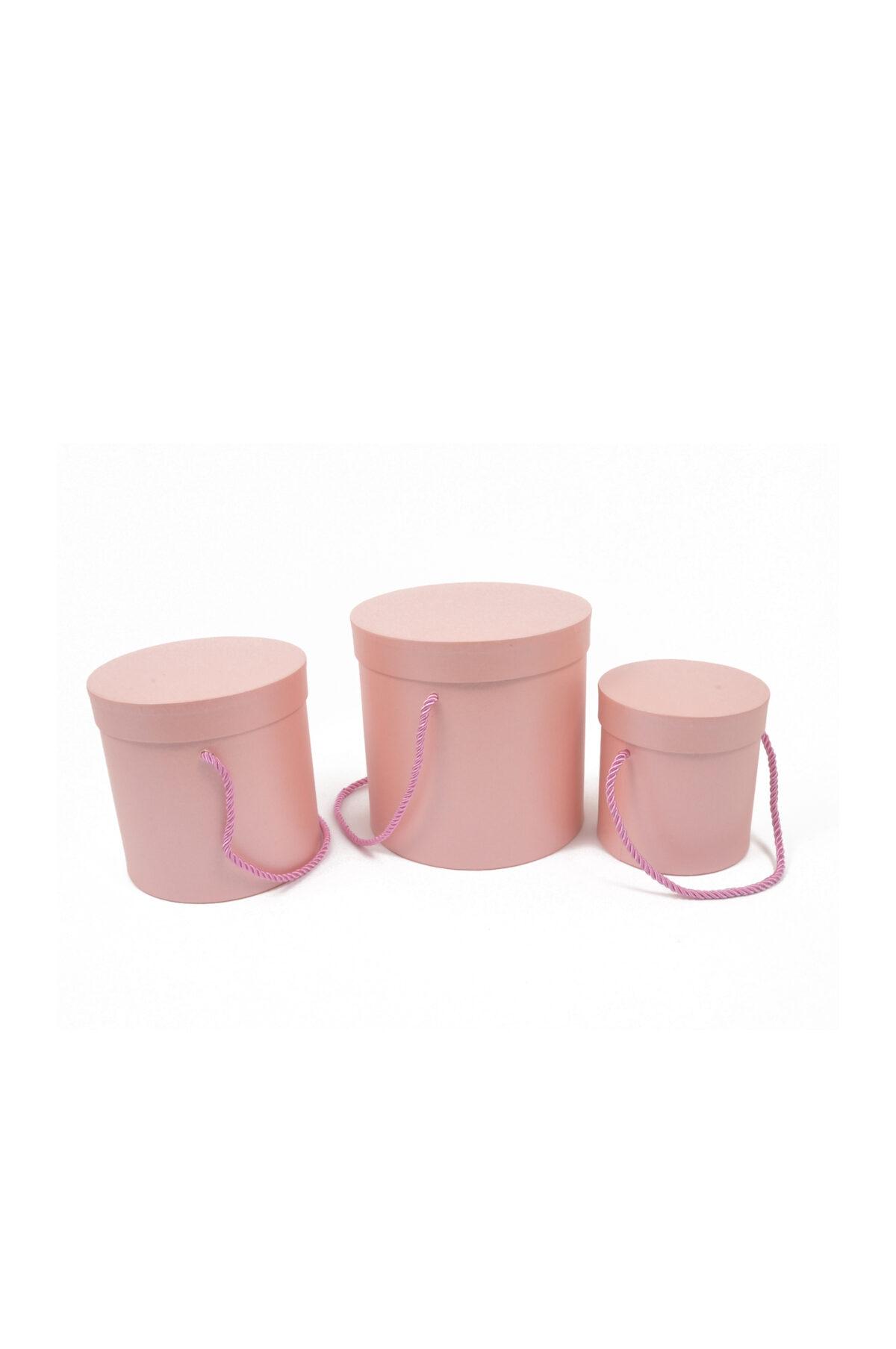 Set 3 Scatole regalo – Flower Box Tonde in cartoncino rigido con manici in corda colore rosa Gr. 18x18; Med. 16x16; Pic.: 14x14 cm