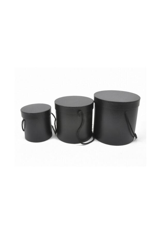Set 3 Scatole regalo – Flower Box Tonde in cartoncino rigido con manici in corda colore nero Gr. 18x18; Med. 16x16; Pic.: 14x14 cm