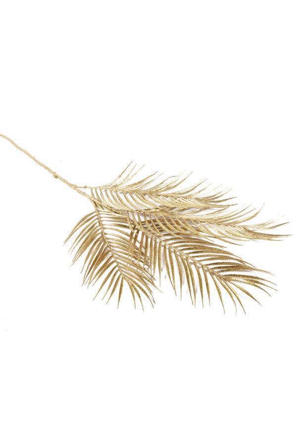 Ramo di palma artificiale con 4 foglie oro con glitter 74 cm