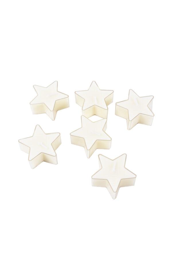 Set 6 candele tea lights a forma di Stella color crema 5,6 x 2,5 cm