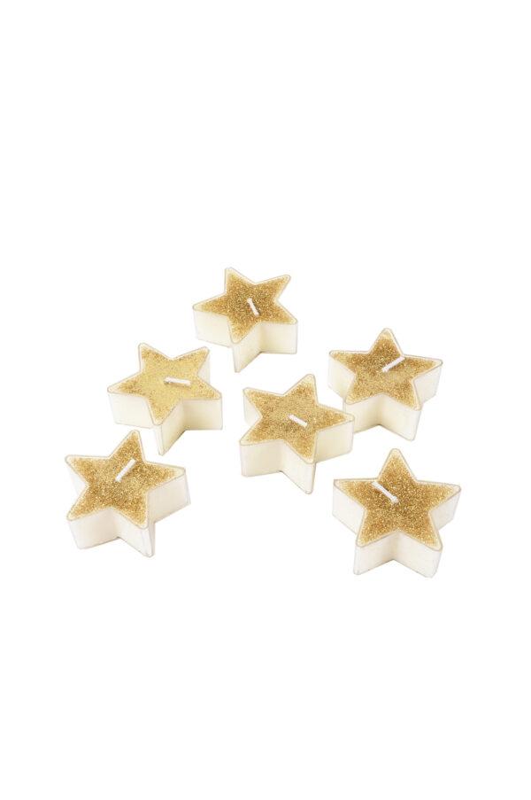 Set 6 candele tea lights a forma di Stella color oro con glitter 5,6 x 2,5 cm