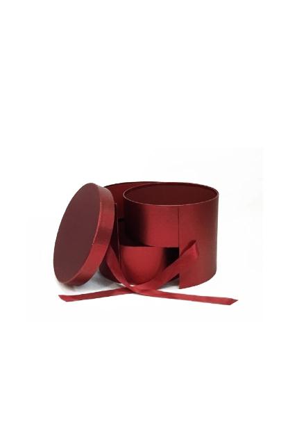 Scatola regalo – Flower box tonda con 2 sezioni interne rossa metallizzata 23 x 19 cm