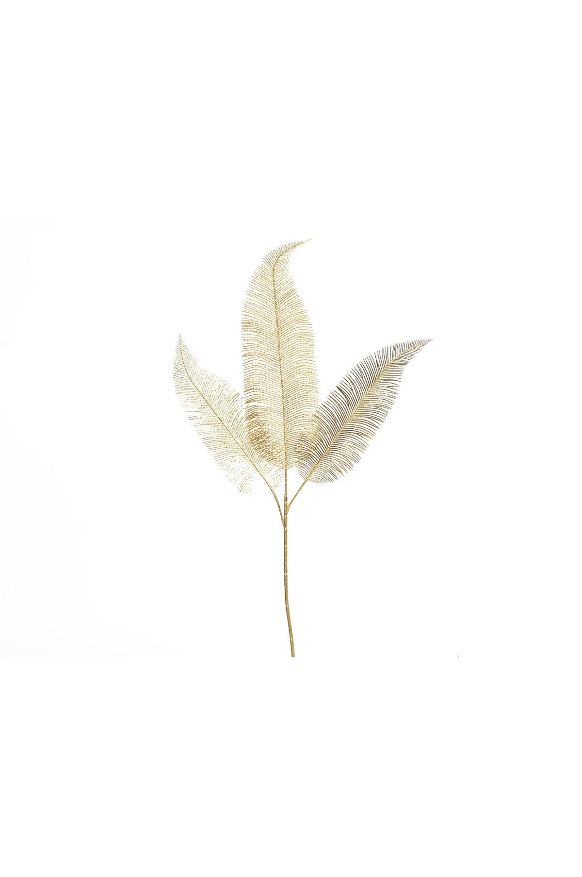 Ramo di Felce artificiale con 3 foglie oro 79 cm