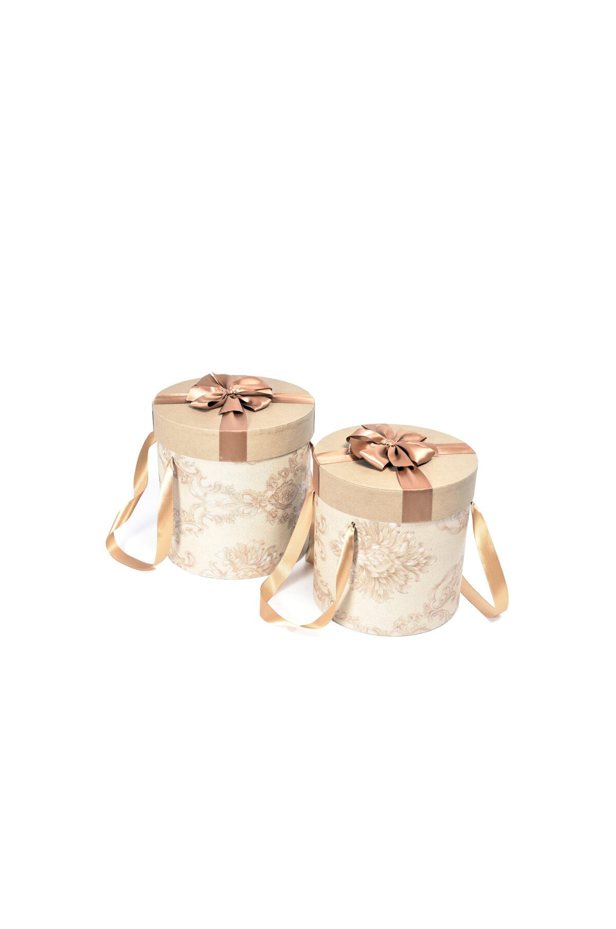 Set 2 Scatole regalo – Flower Box Tonde rivestite in tessuto con nastro marrone sul coperchio e con manico Gr.: 26x26x26 cm; Pic.: 24x24x24 cm