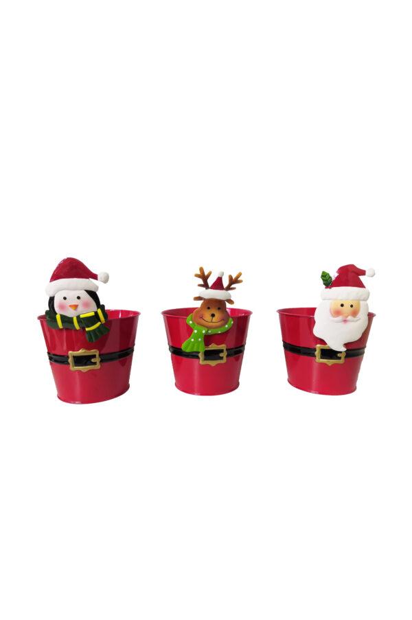 Set 3 Vasi Caspò natalizi in metallo mix design (Babbo Natale, Renna e Pinguino) d. 11 cm h. 18,5 cm