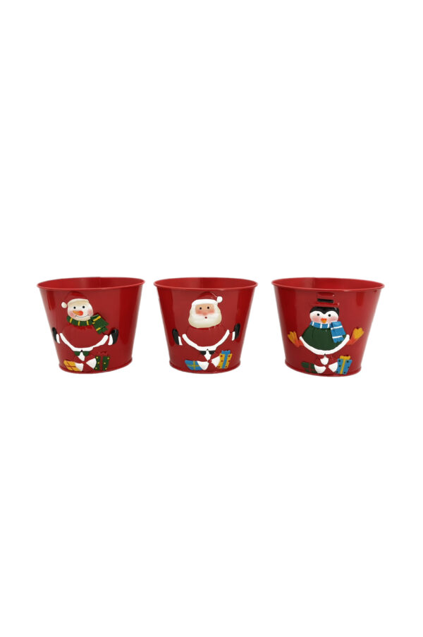 Set 3 Vasi Caspò natalizi in metallo mix design (Pupazzo di Neve, Babbo Natale e Pinguino) d. 17,5 cm h. 14 cm