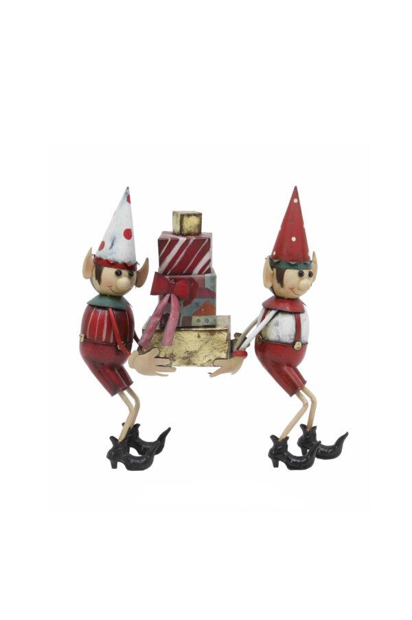 Coppia di Elfi di Natale decorativi da vetrina che portano regali in metallo sui toni del rosso, bianco e oro 49,5 x 14 x h. 51 cm