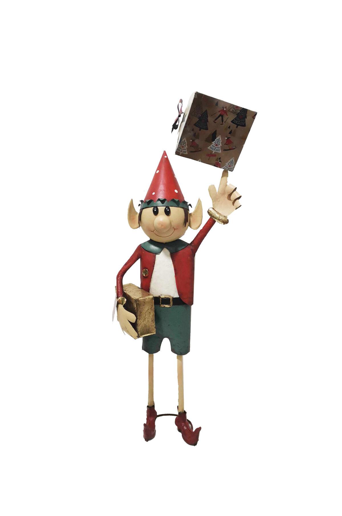 Elfo di Natale decorativo da vetrina con cappello rosso e con regali in metallo sui toni del rosso, verde e oro 55 x 29 x h. 138 cm