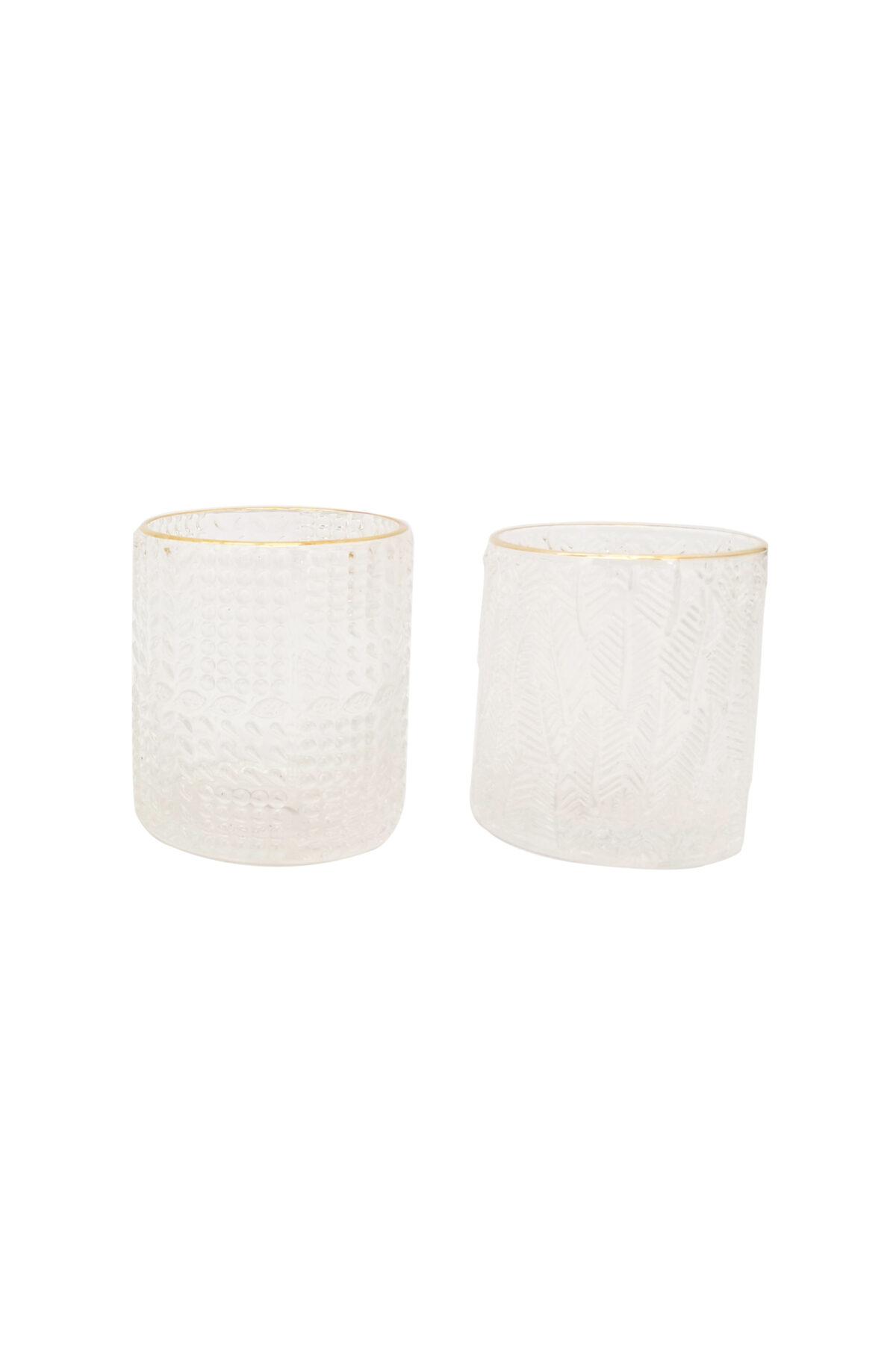Cilindro - bicchiere in vetro effetto ghiaccio (disegno casuale) con bordo oro d. 8 cm h. 9 cm