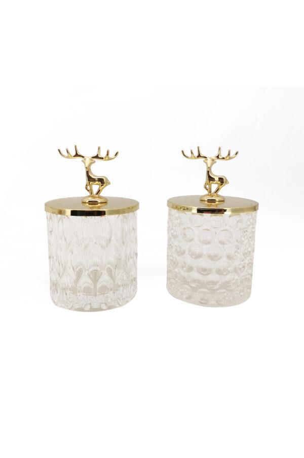 Set 2 Cofanetti contenitori in vetro (disegno vetro casuale) con coperchio in metallo color oro decorato con Renna d. 9 x h. 15 cm