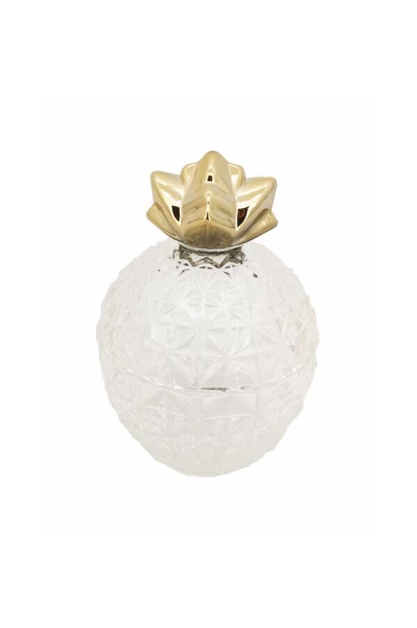 Cofanetto contenitore in vetro bombato con coperchio in metallo oro a forma di anas d. 10,5 cm h. 15,5 cm