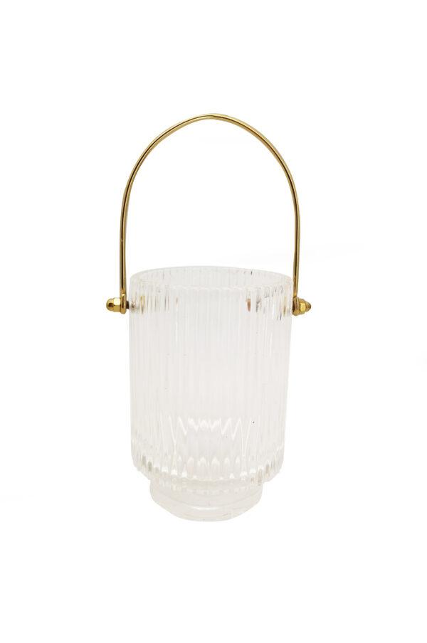 Caspò contenitore simil portaghiaccio in vetro con manico in metallo oro d. 9 cm h. 13 cm