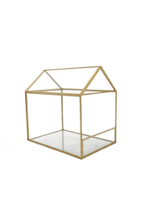 Serretta Terrarium rettangolare a forma di casetta in metallo e vetro 20 x 14 x h. 20 cm