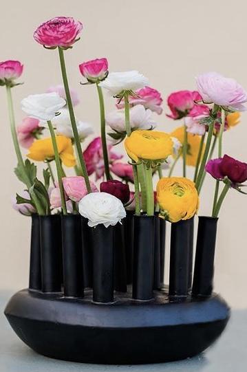 Portafiori in latta nera opaca ideale per fiori essiccati e stabilizzati d. 30 h. 19 cm