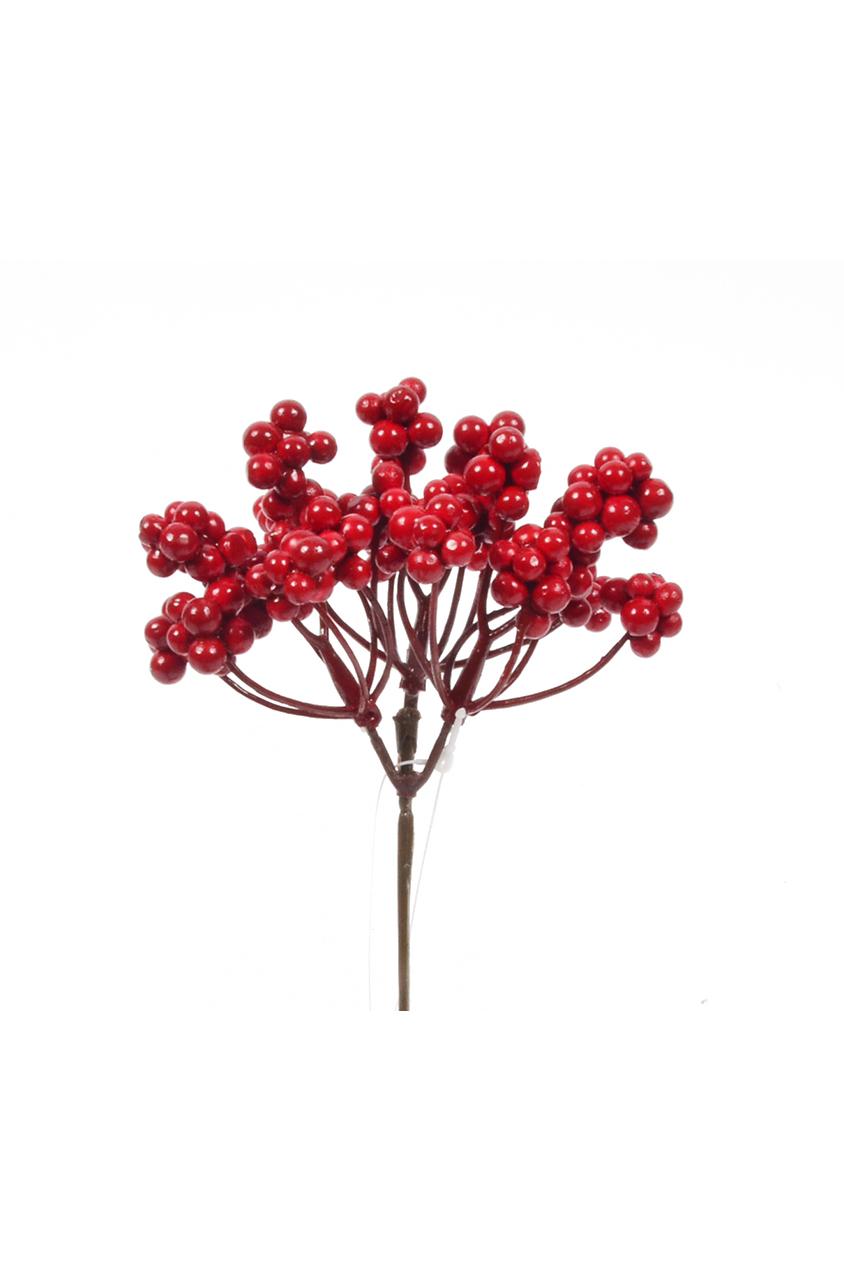 Set con 12 Rami di bacche rosse artificiali 17 cm