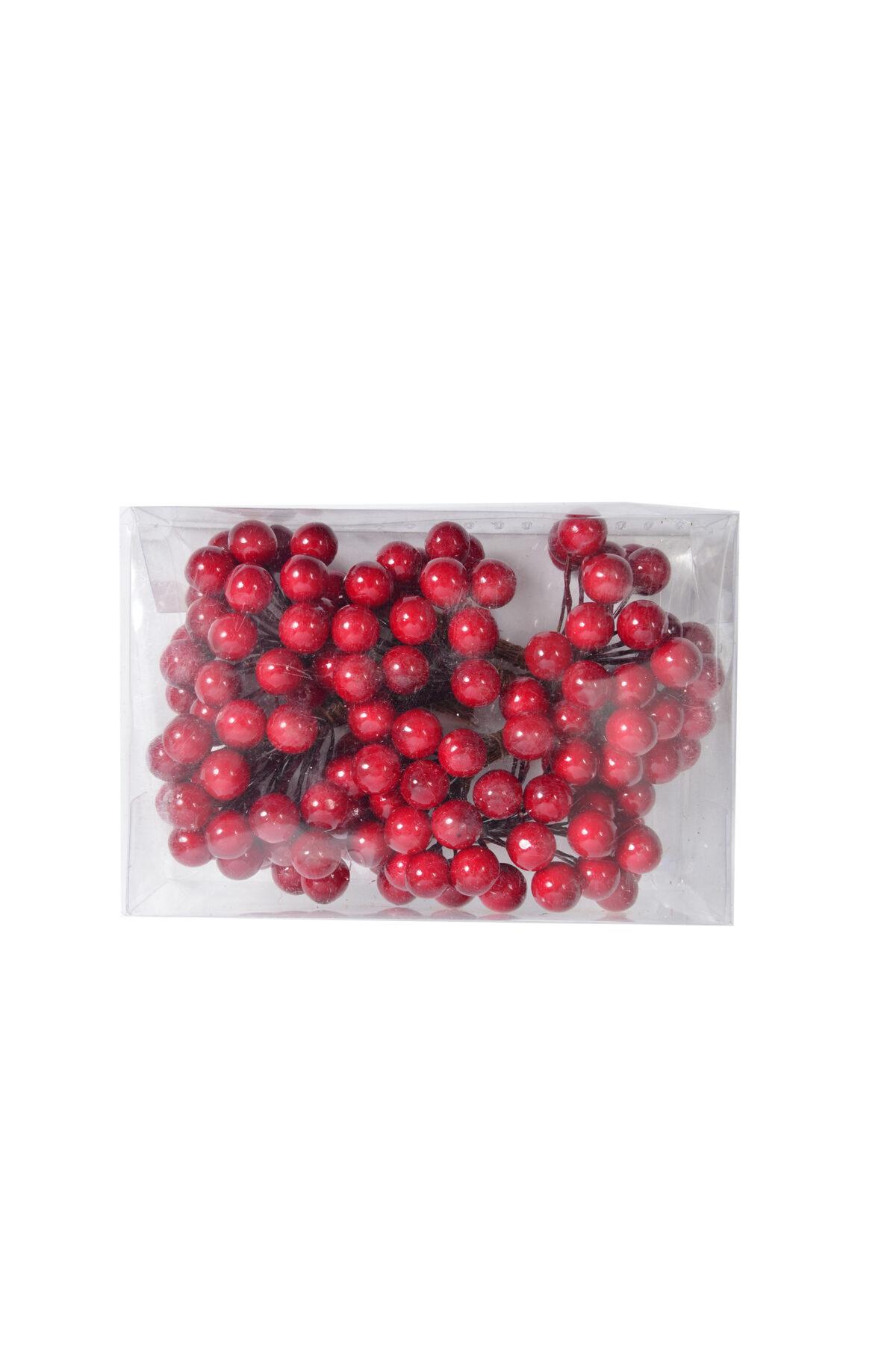 Box con 6 mazzi di bacche rosse decorative chiudipacco in pvc d. 1,2