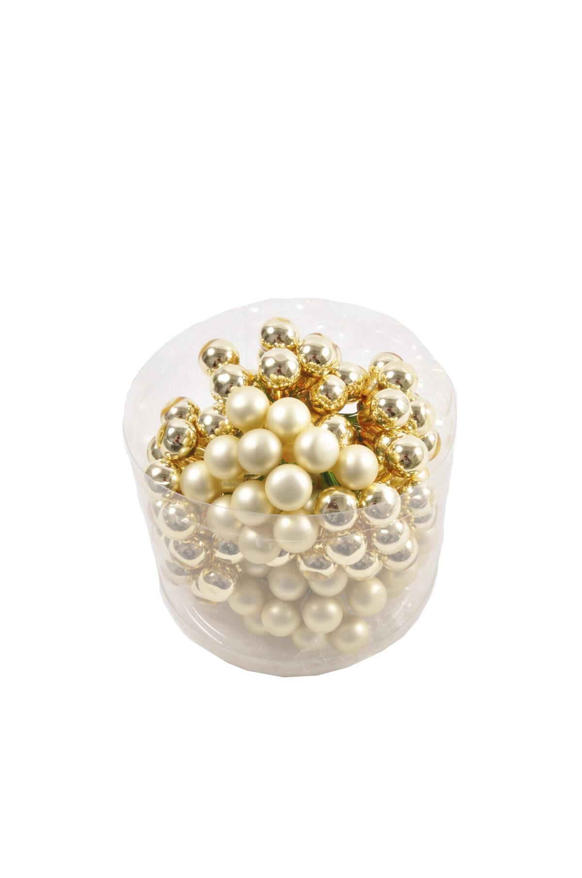 Set 144 Palline di Natale decorative in vetro oro mix mat e lucide con filo di ferro 15 mm