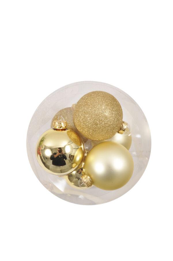 Set 6 Palline di Natale in vetro oro mix mat, lucide e glitterate 10 cm