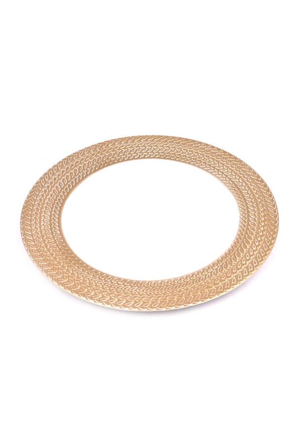 Piatto – Sottopiatto – Vassoio bianco con bordo oro in plastica rigida d. 33 cm