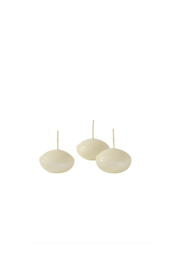 Set 20 Candele galleggianti ovali color Avorio stoppino in cotone durata 4 ore ca. h. 2,7 x d. 4,5 cm